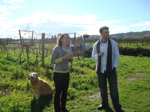 Jasmine the winery dog, Jill and Me in the Vineyard