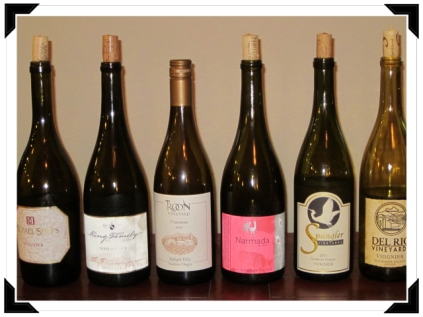 Viognier tasting line up.  Photo courtesy of Clara Hulkower.